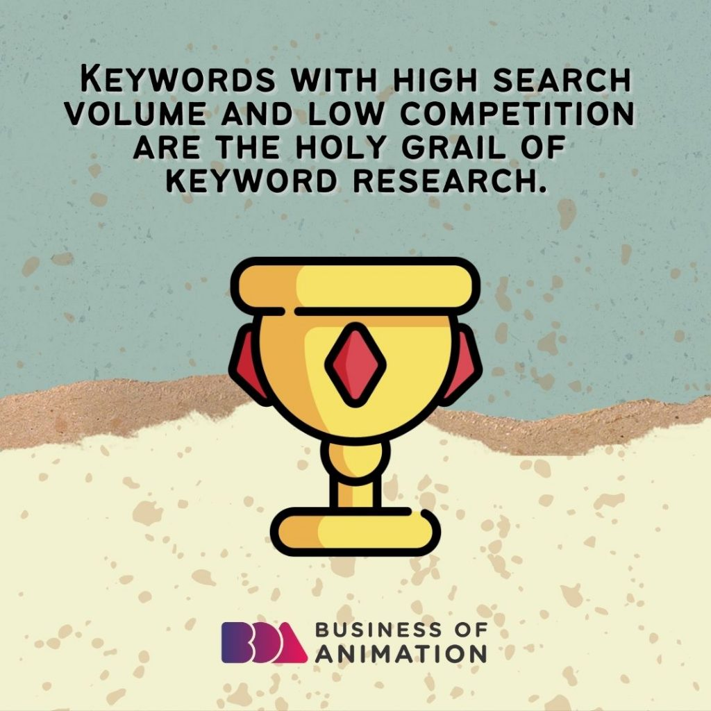 Keywords with high search volume and low competition are the holy grail of keyword research.