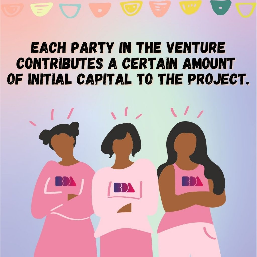 Each party in the venture contributes a certain amount of initial capital to the project.