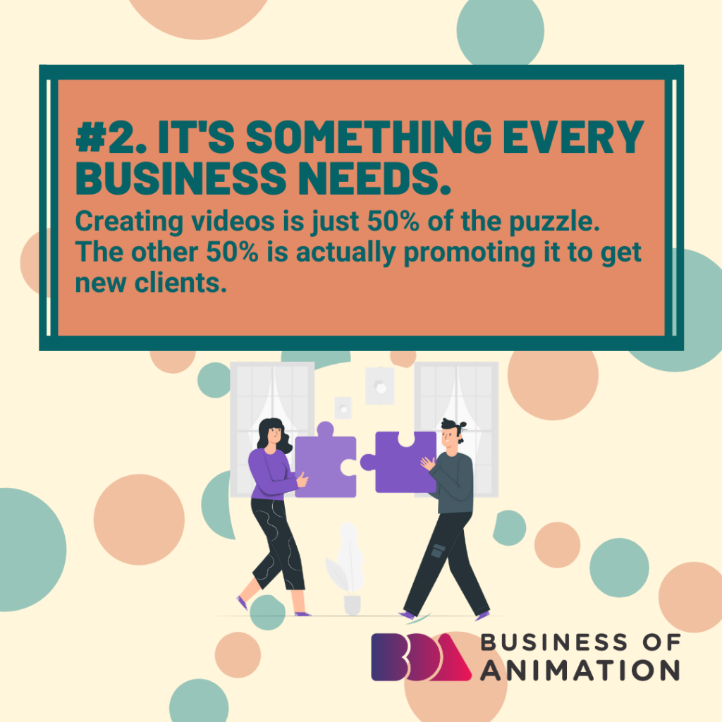 It's something every business needs. Creating videos is just 50% of the puzzle. The other 50% is actually promoting it to get new clients.