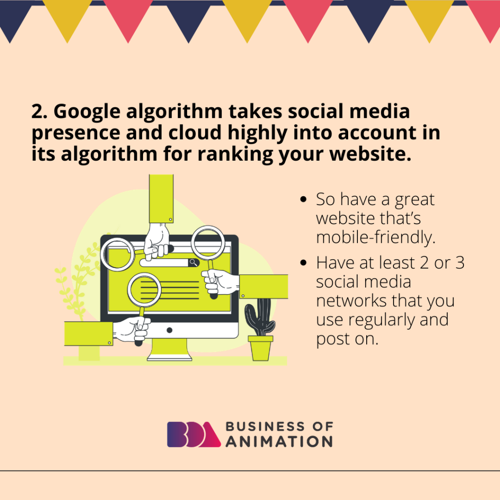Google algorithm takes social media presence and cloud highly into account in its algorithm for ranking your website
