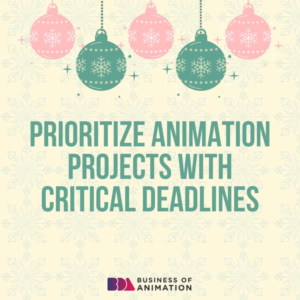 Prioritize animation projects with critical deadlines