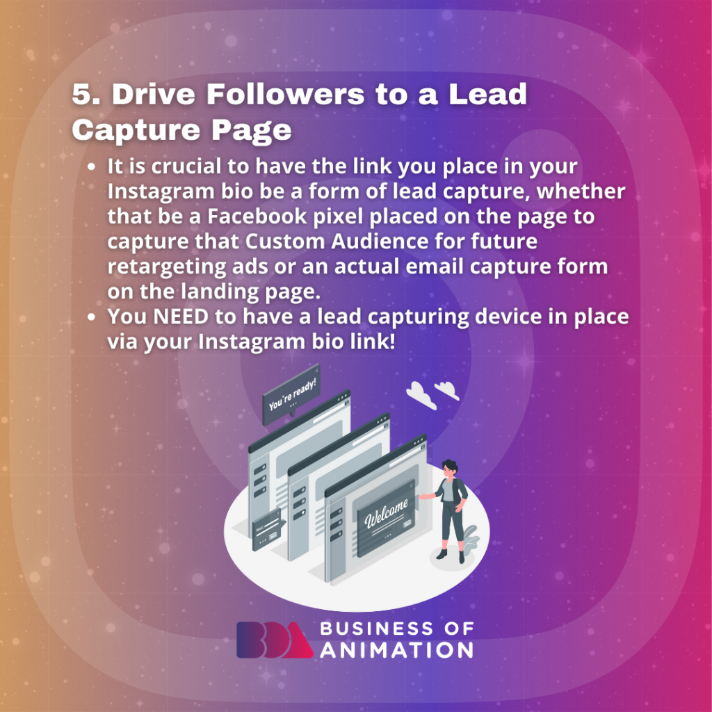 Drive Followers to a Lead Capture Page.