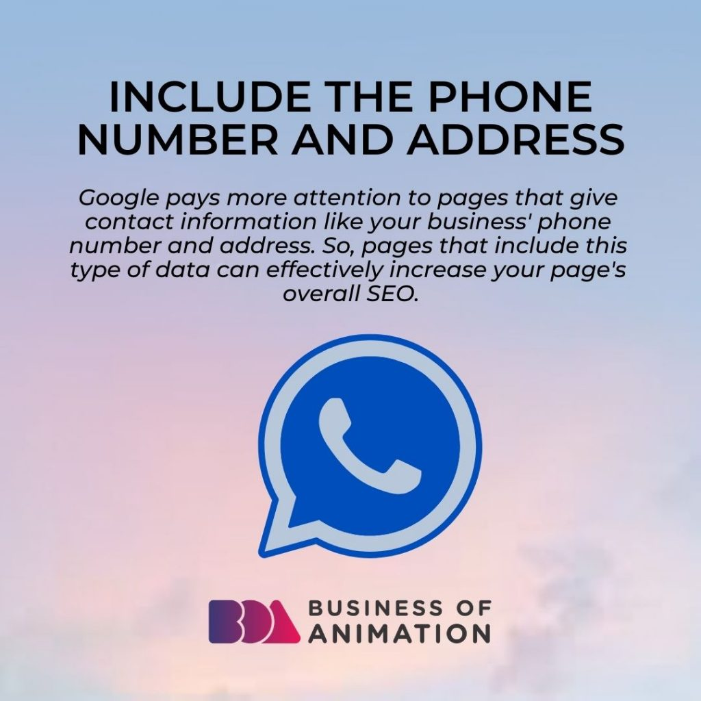 Include the Phone Number and Address