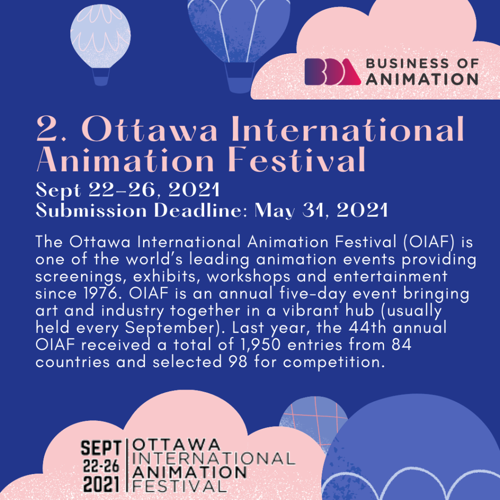 Ottawa International Animation Festival (Sept 22-26, 2021; Submission Deadline: May 31, 2021)