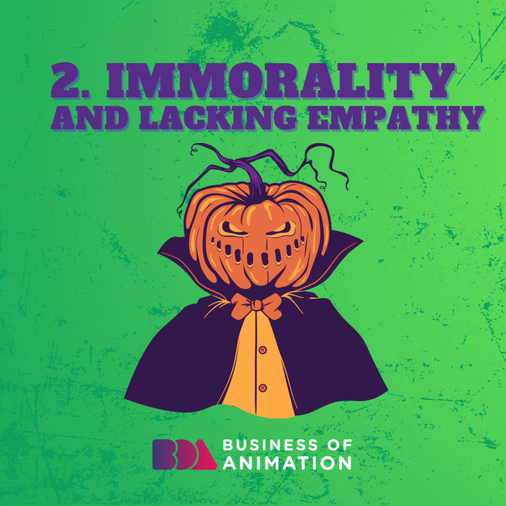 Immorality and lacking empathy