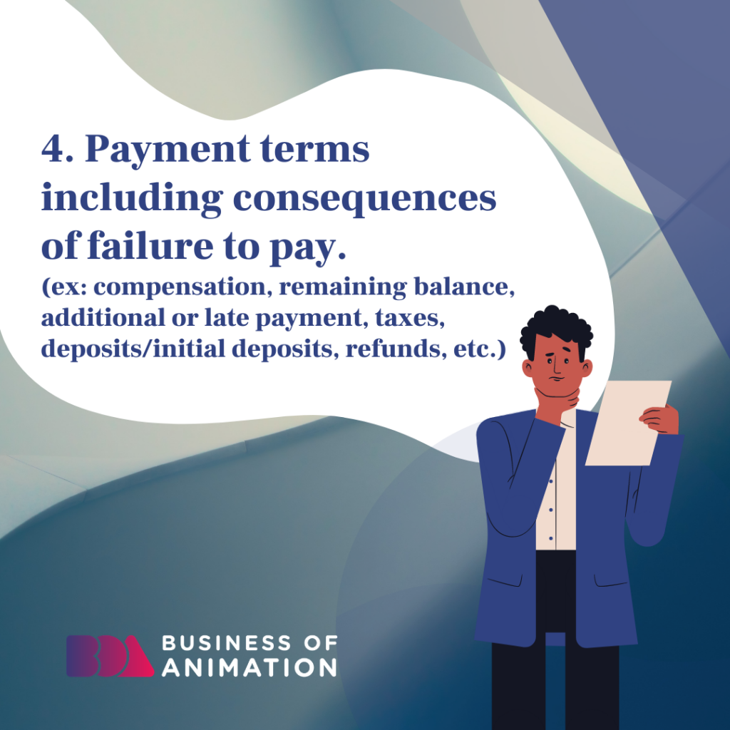 Payment terms including consequences of failure to pay.
