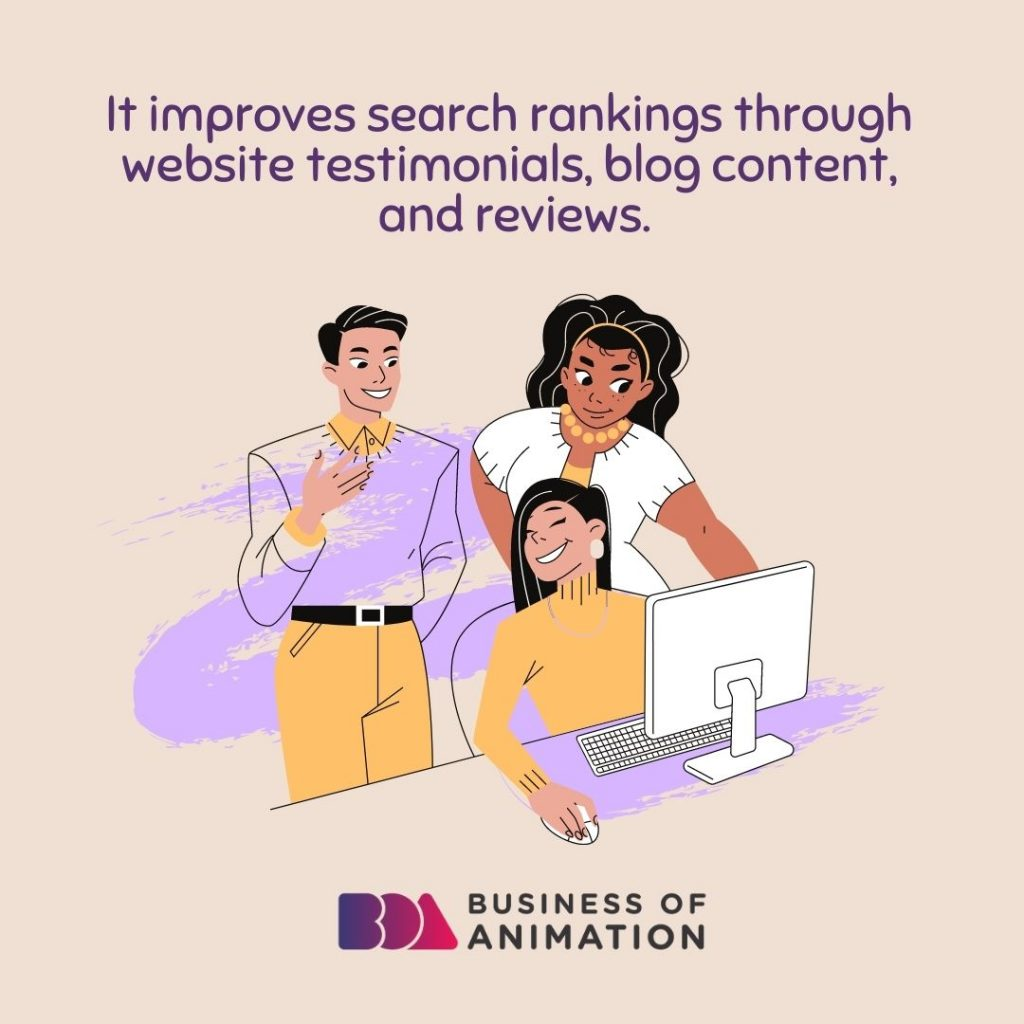 It improves search rankings through website testimonials, blog content, and reviews.