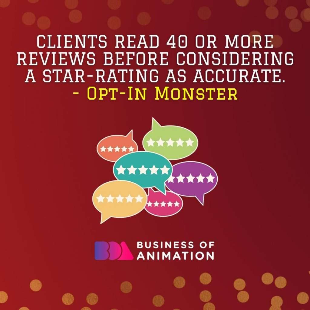 Clients read 40 or more reviews before considering a star-rating as accurate. (Opt-In Monster)