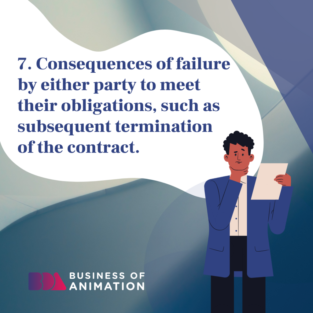 Consequences of failure by either party to meet their obligations, such as subsequent termination of the contract.