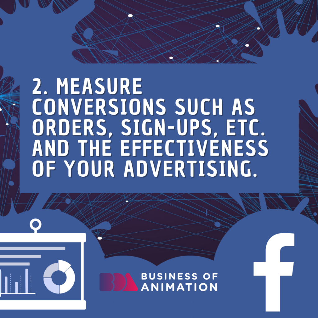 Measure conversions such as orders, sign-ups, etc., and the effectiveness of your advertising.