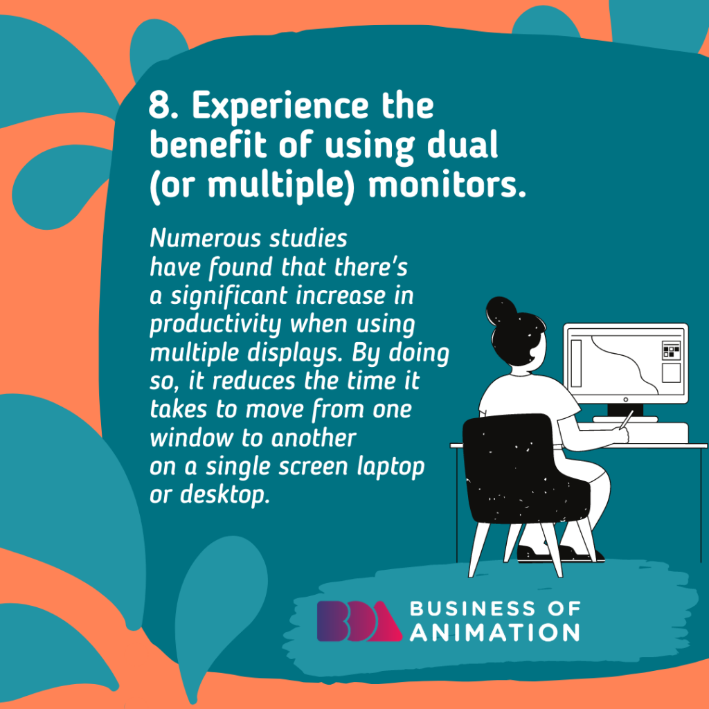 Experience the benefit of using dual (or multiple) monitors.