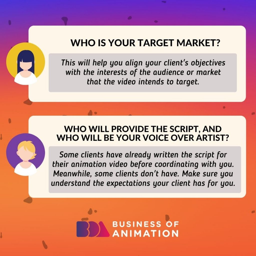 Who is your target market? Who will provide the script, and who will be your voice over artist?