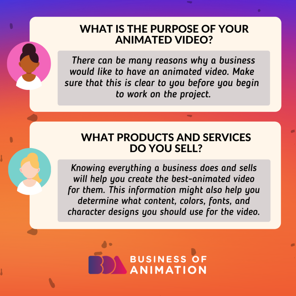 What is the purpose of your animated video? What products and services do you sell?