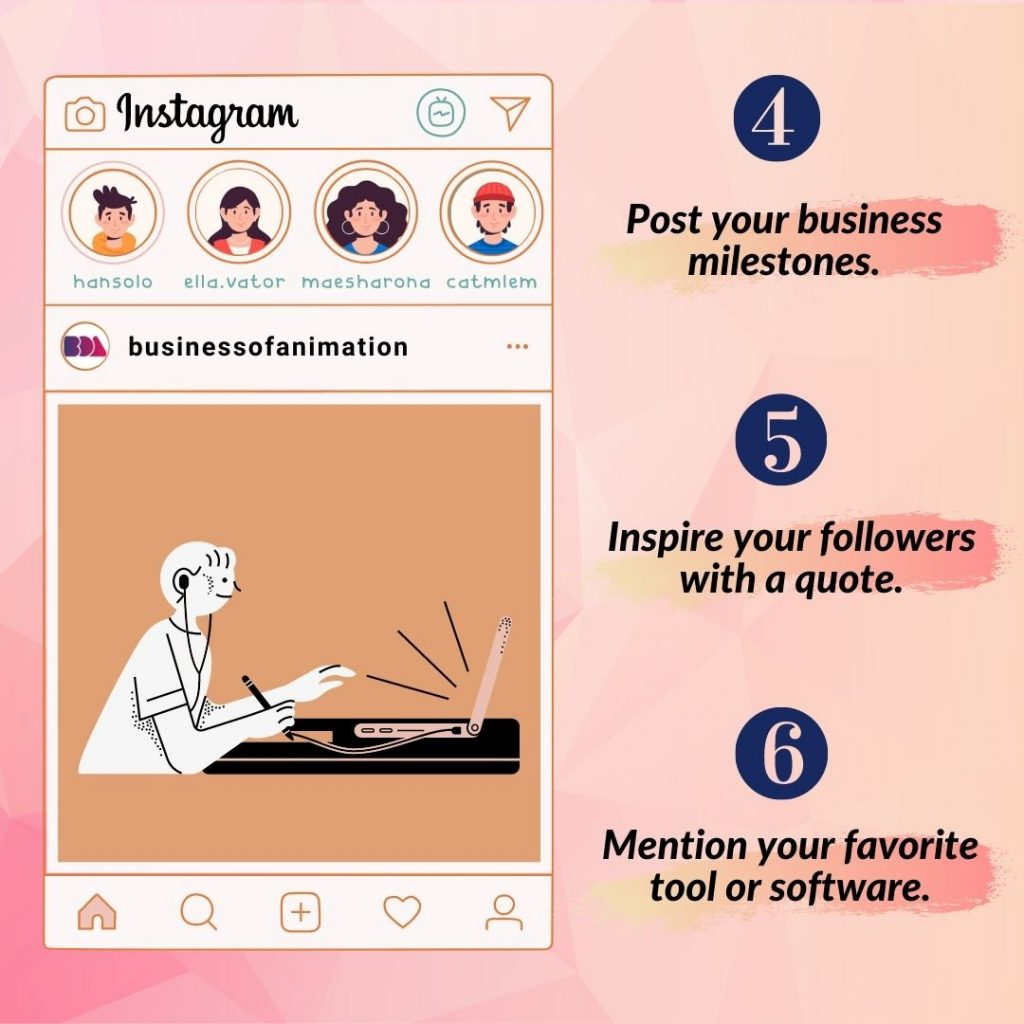 4. Post your business milestones. 5. Inspire your followers with a quote. 6. Mention your favorite tool or software.