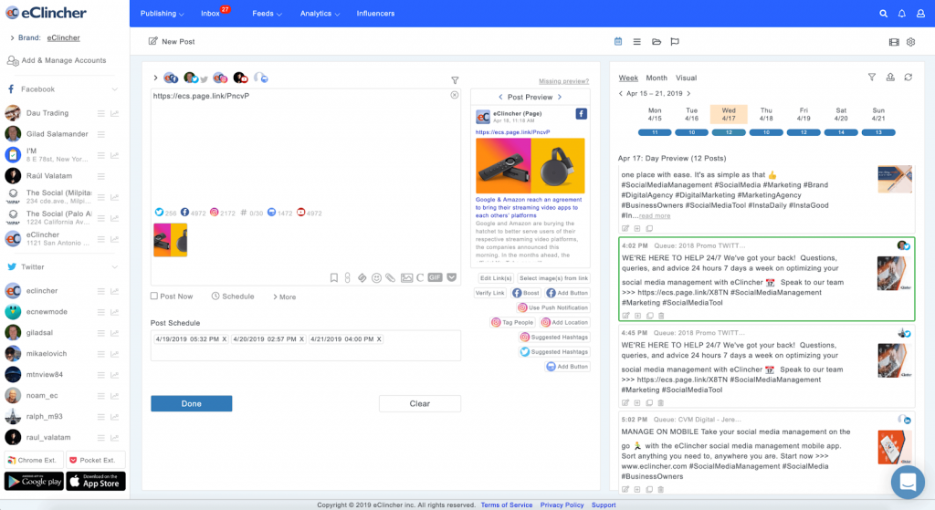 clinicher social media management tool
