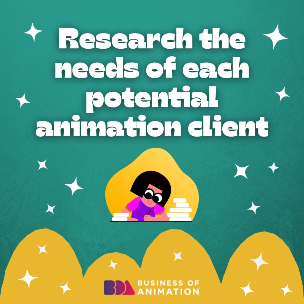 Research the needs of each potential animation client
